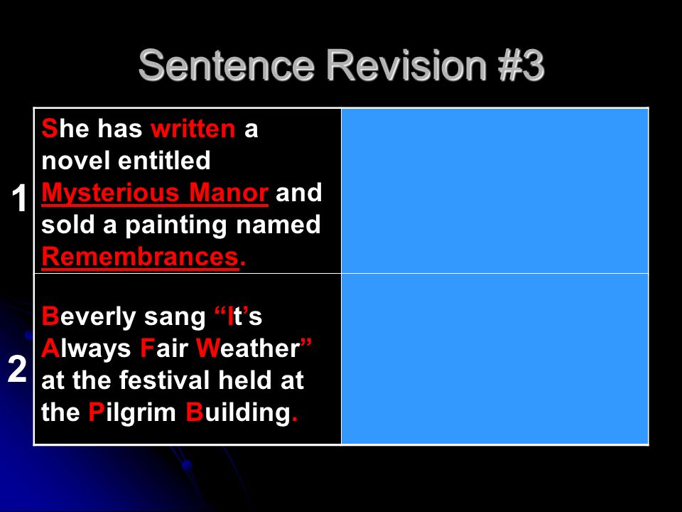 Sentence Revision #3 she has wrote a novel entitled mysterious manor and sold a painting named remembrances.