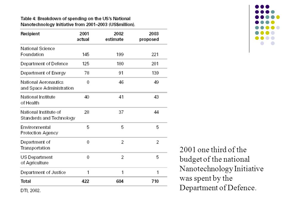 2001 one third of the budget of the national Nanotechnology Initiative was spent by the Department of Defence.