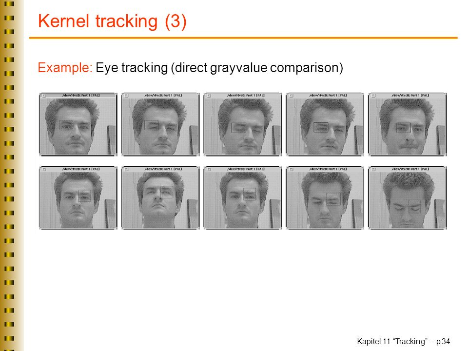 Kernel tracking (3) Example: Eye tracking (direct grayvalue comparison)