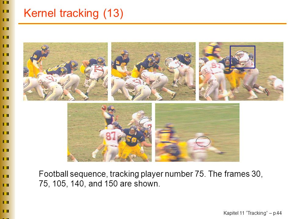 Kernel tracking (13) Football sequence, tracking player number 75.