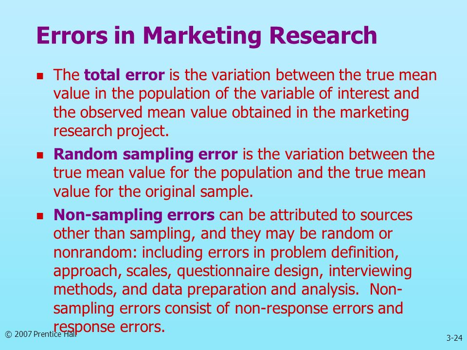 Errors in Marketing Research
