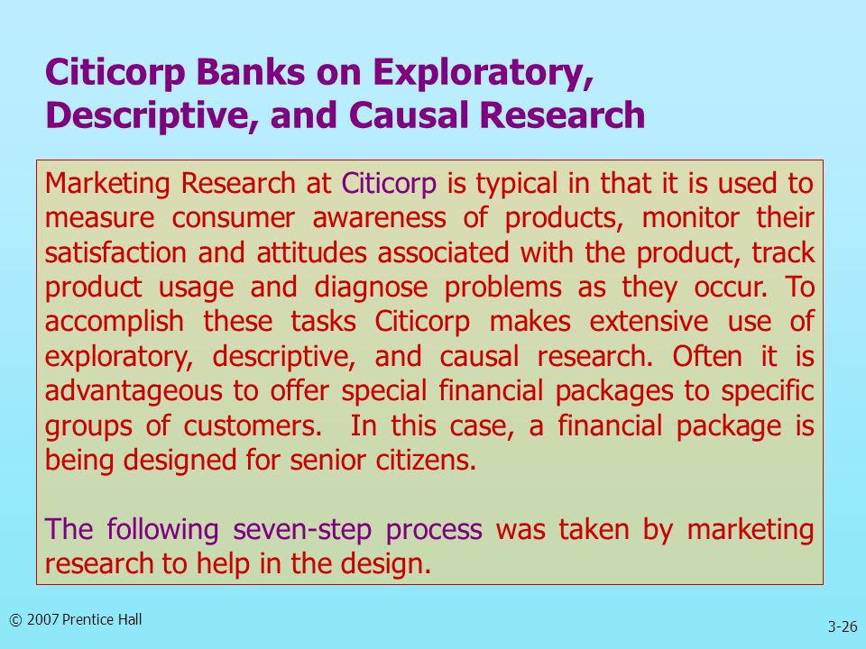 Citicorp Banks on Exploratory, Descriptive, and Causal Research