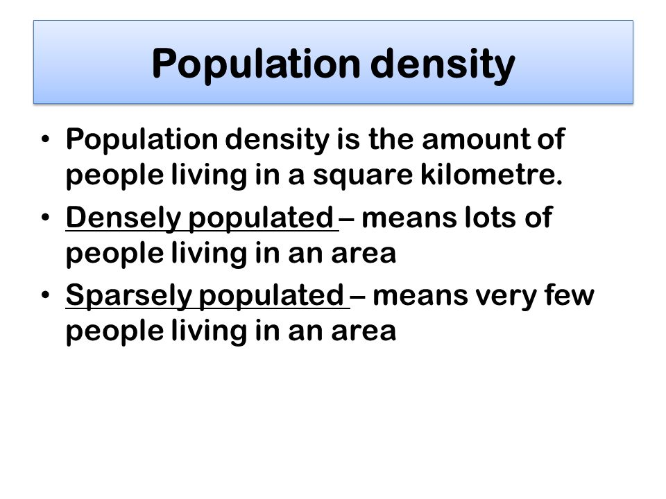 define sparsely populated