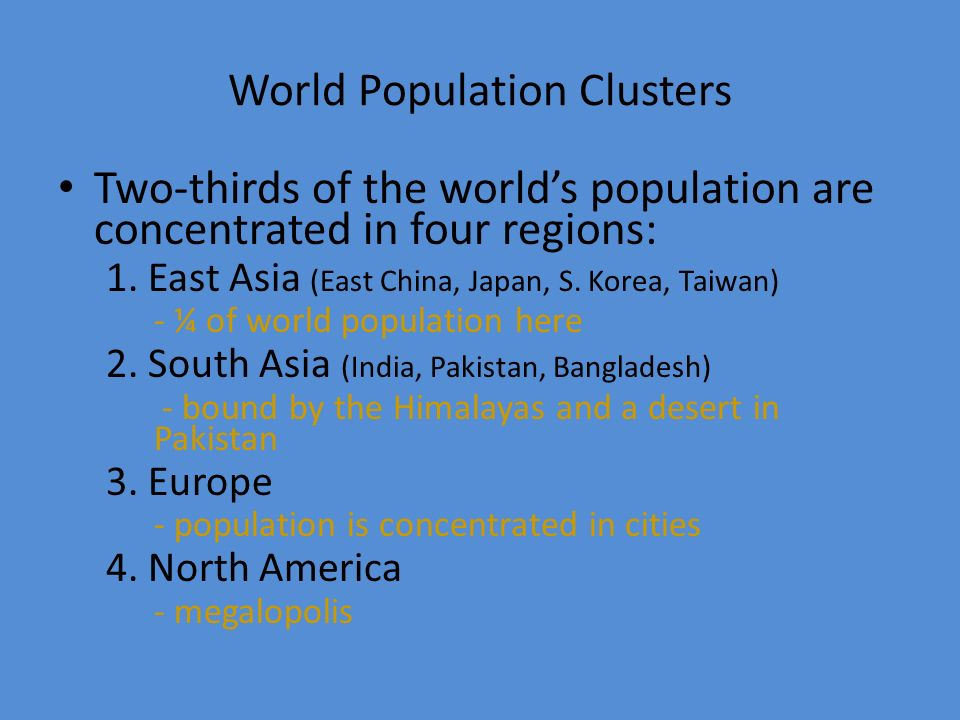 World Population Clusters