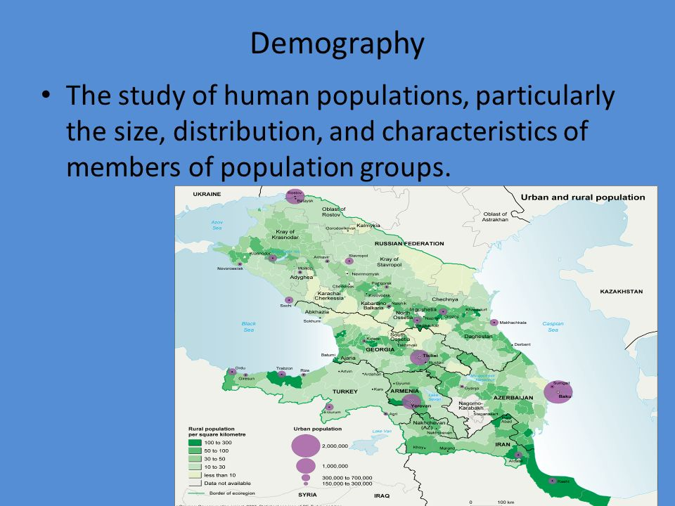 Demography The study of human populations, particularly the size, distribution, and characteristics of members of population groups.