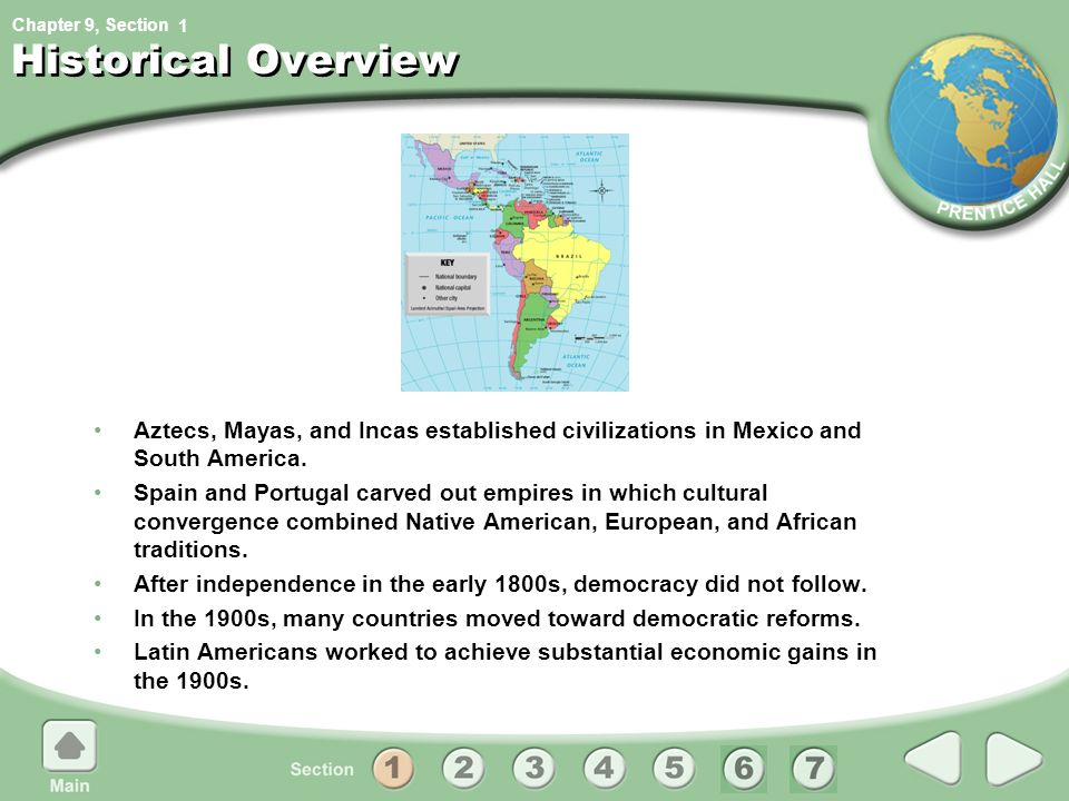 1 Historical Overview. Aztecs, Mayas, and Incas established civilizations in Mexico and South America.