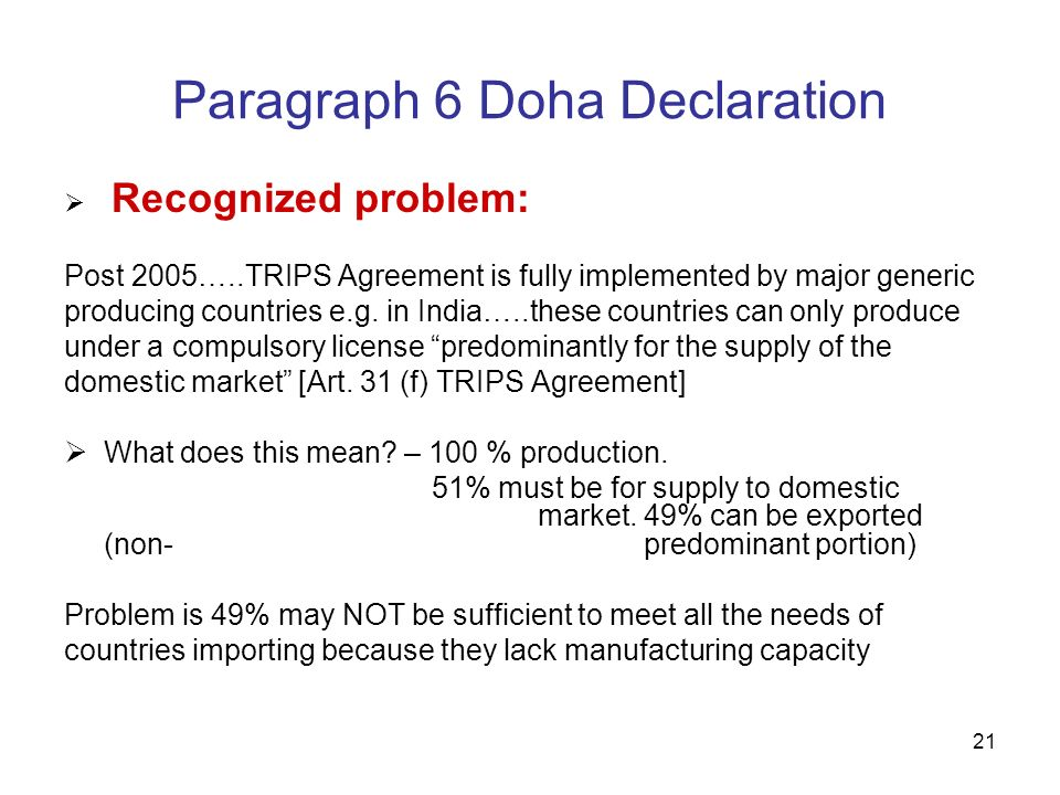 Flexibilities In Wtos Trips Agreement For Access To Medicines Ppt