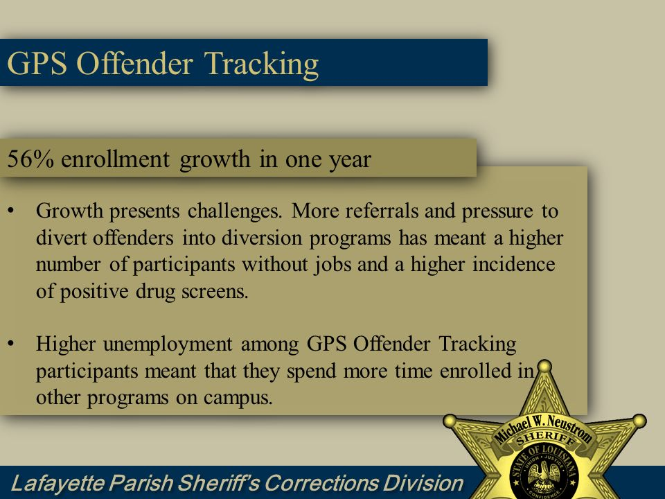 GPS Offender Tracking 56% enrollment growth in one year