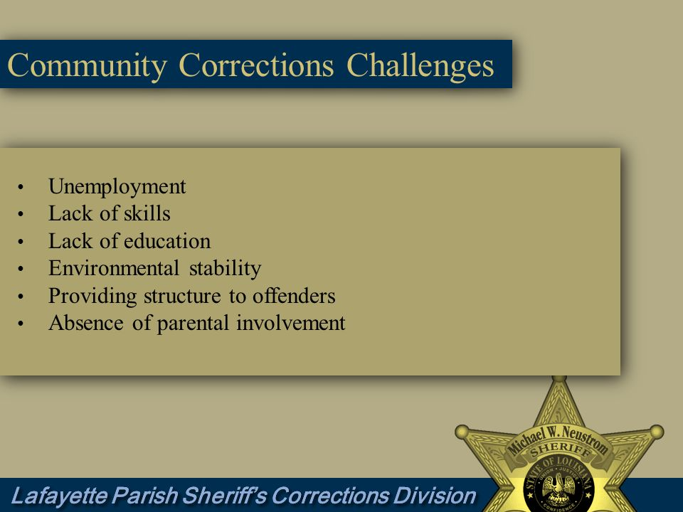 Community Corrections Challenges