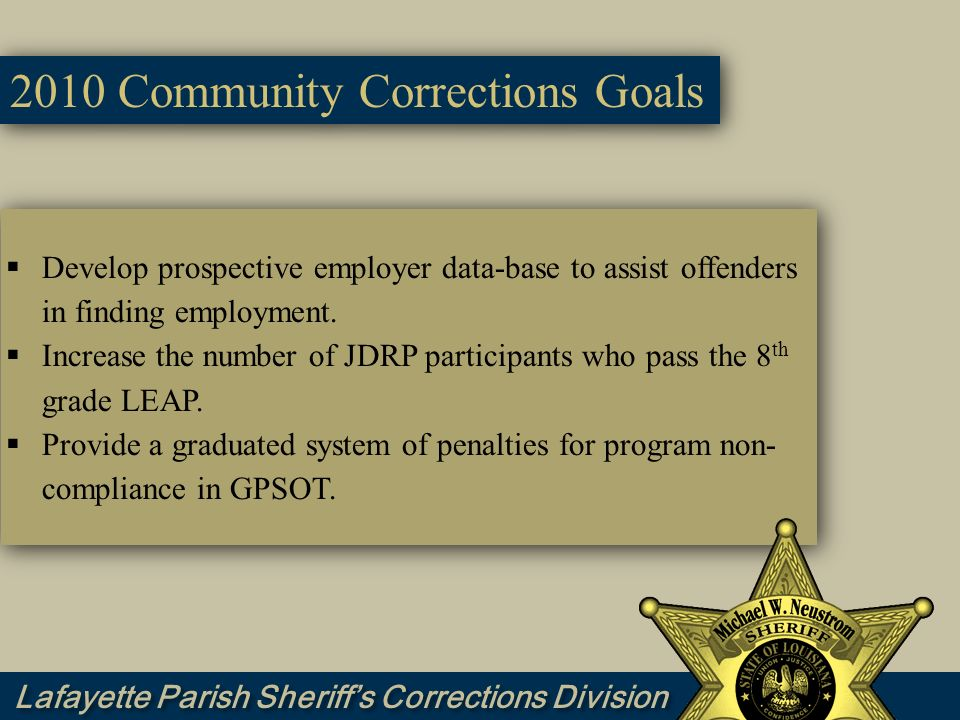 2010 Community Corrections Goals