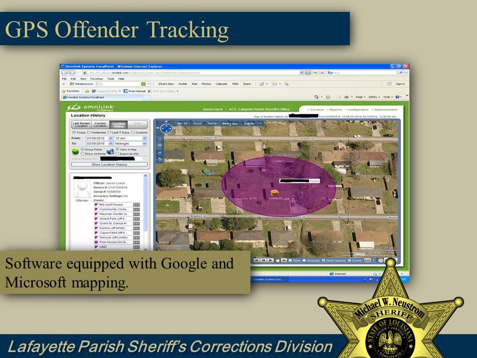 GPS Offender Tracking Software equipped with Google and Microsoft mapping.