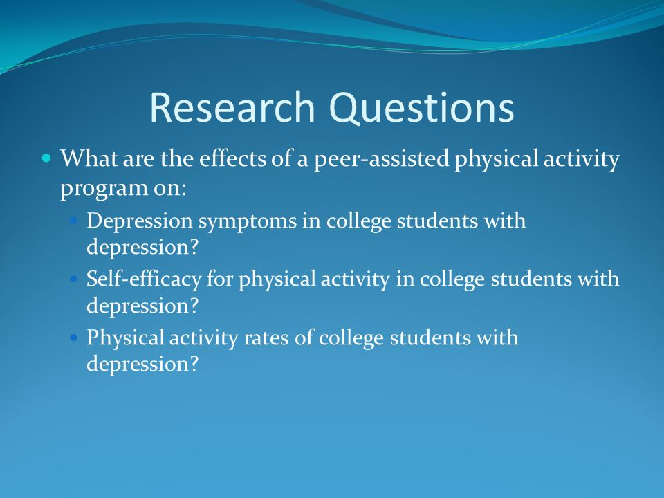 depression research questions