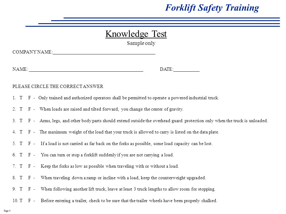 Osha Forklift Certification Test Answers Writings And Essays