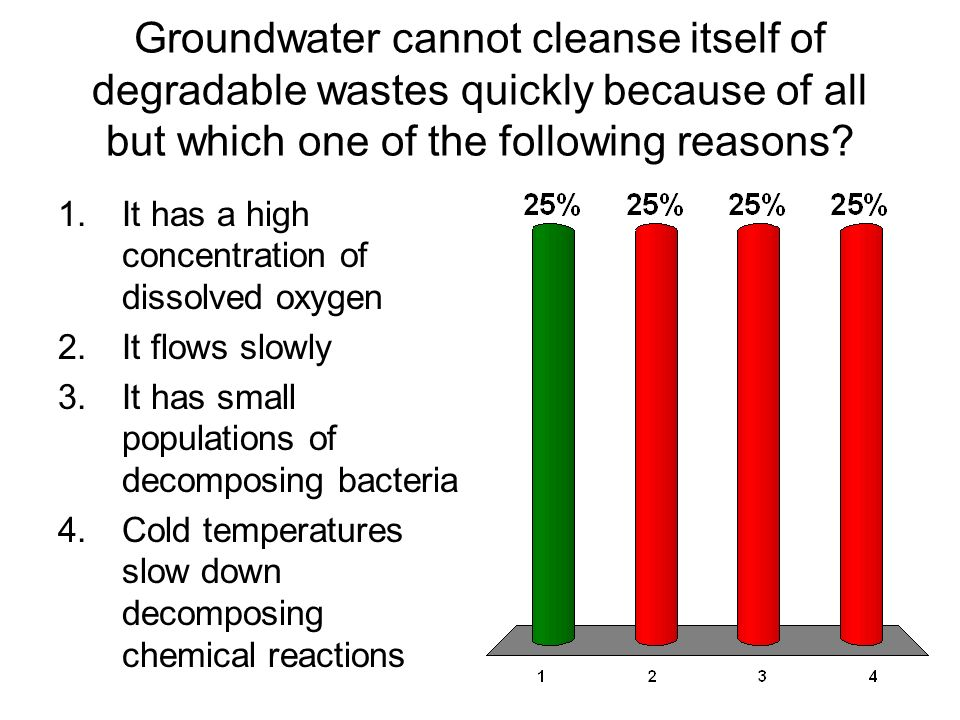 Groundwater cannot cleanse itself of degradable wastes quickly because of all but which one of the following reasons