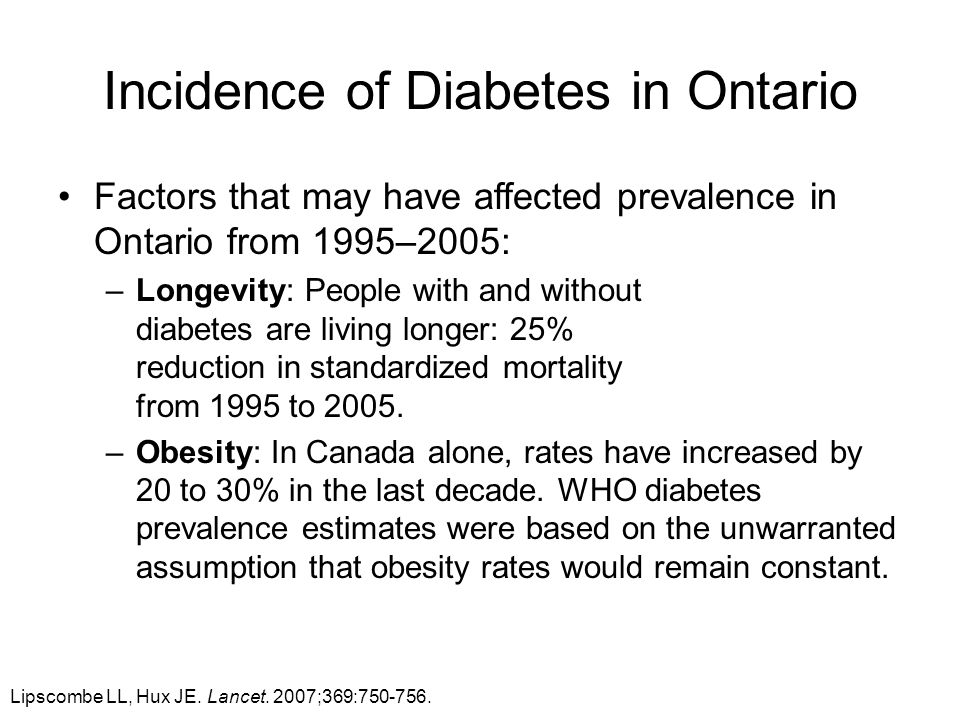 Incidence of Diabetes in Ontario