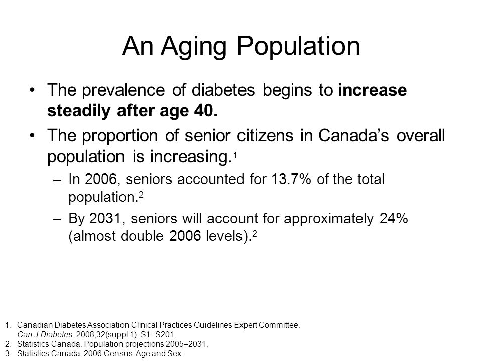 An Aging Population The prevalence of diabetes begins to increase steadily after age 40.
