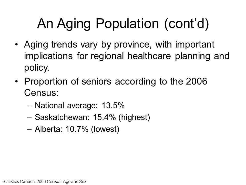 An Aging Population (cont'd)