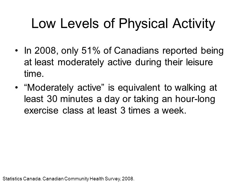 Low Levels of Physical Activity
