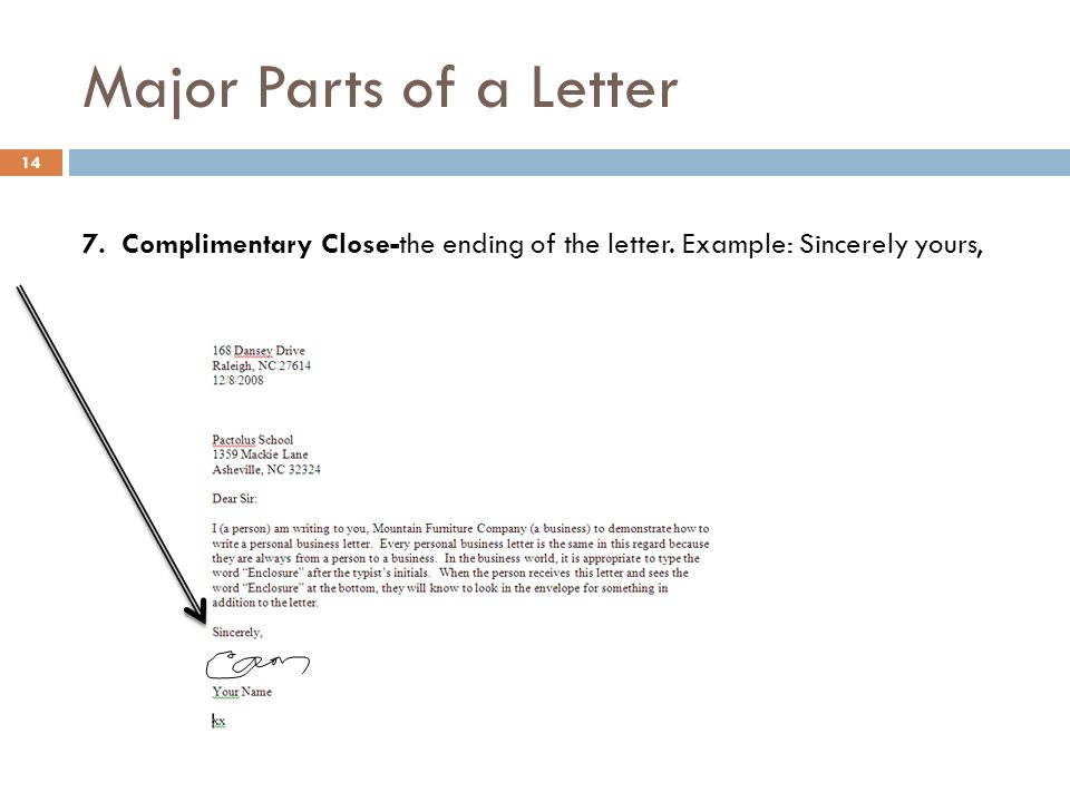 Business english lecture 7 ppt download 14 major parts of a letter 7 complimentary close the ending of the letter example sincerely yours expocarfo Choice Image