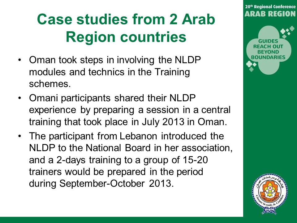 Case studies from 2 Arab Region countries