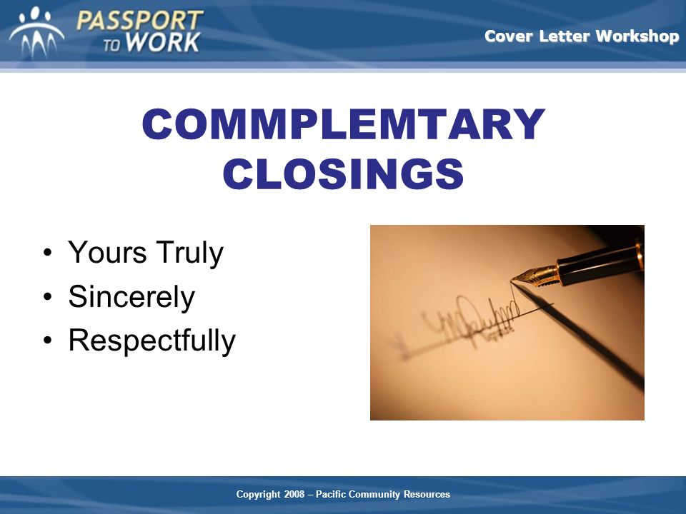 respectfully letter closing facilitator check list ppt 24310 | COMMPLEMTARY CLOSINGS
