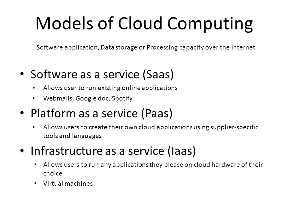 Models of Cloud Computing Software application, Data storage or Processing capacity over the Internet