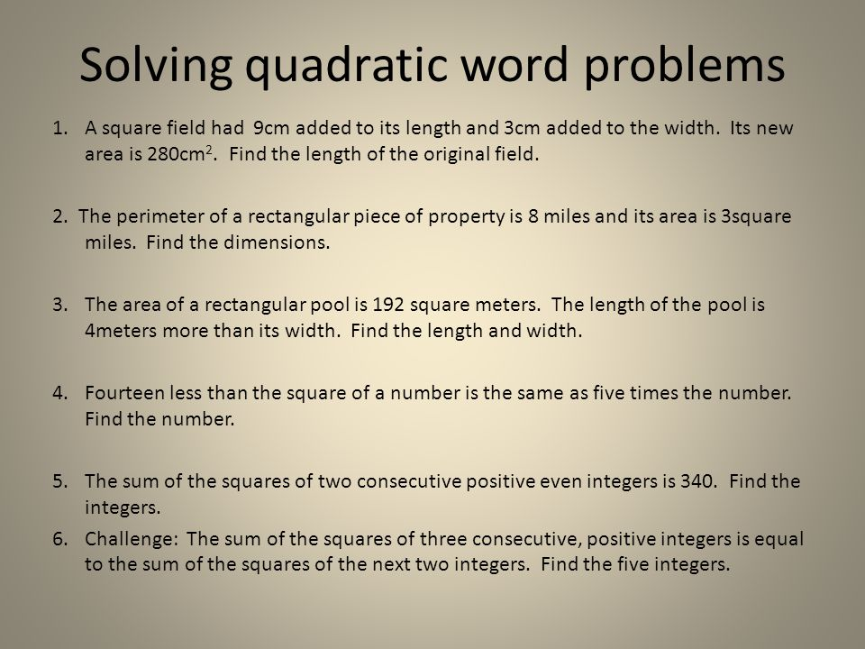 Solving quadratic word problems