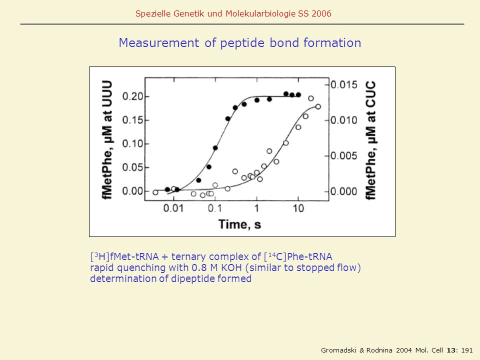 Measurement of peptide bond formation