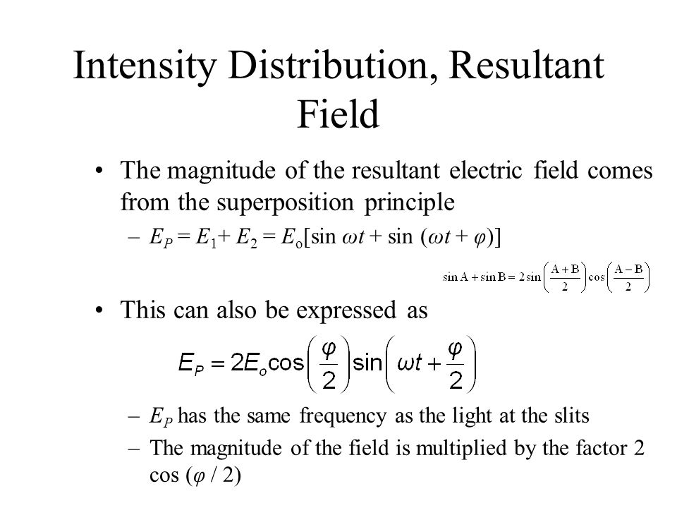Intensity Distribution, Resultant Field