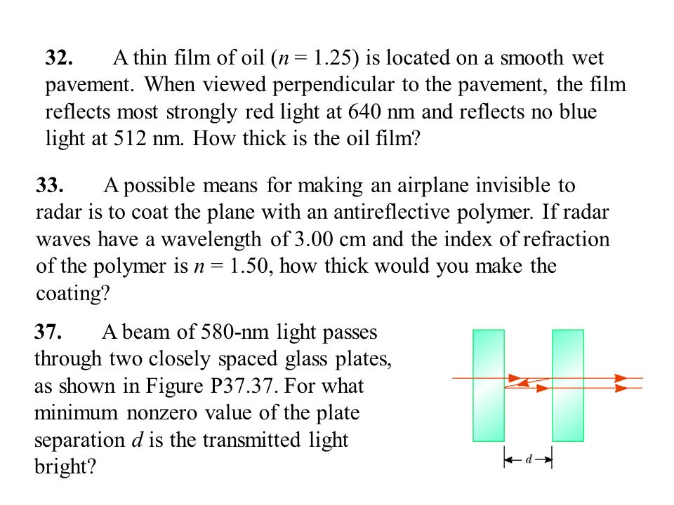 32. A thin film of oil (n = 1. 25) is located on a smooth wet pavement