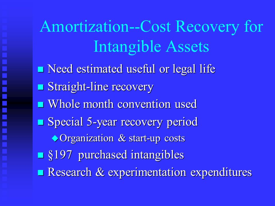 amortization cost recovery for intangible assets