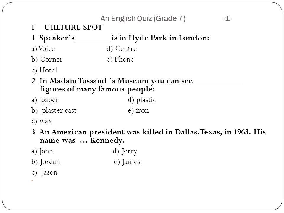 an english quiz grade 7 ppt download