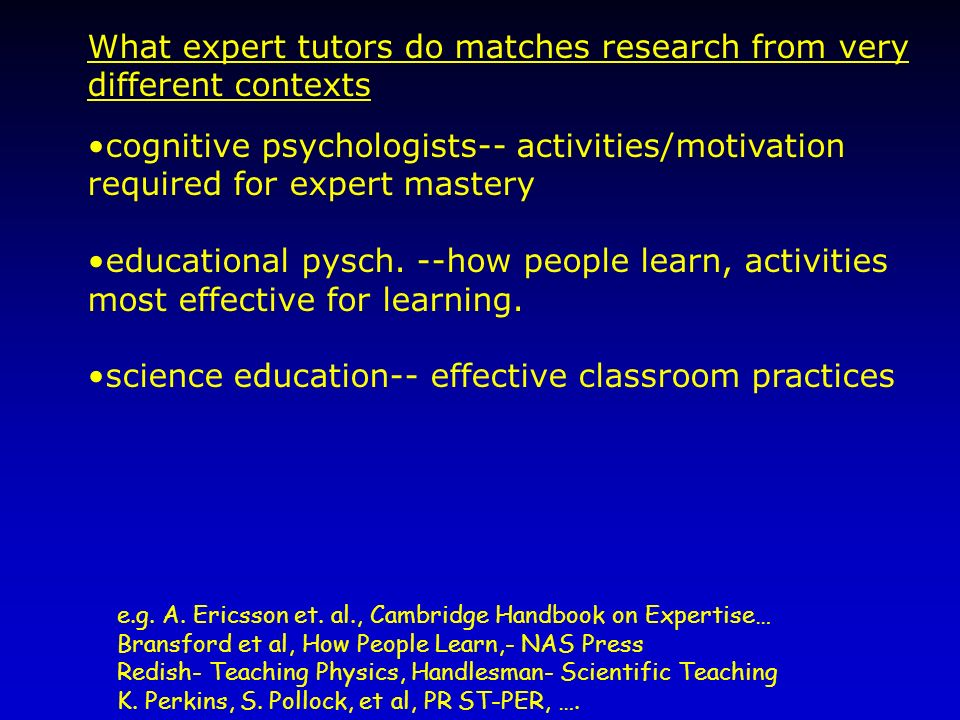 What expert tutors do matches research from very different contexts