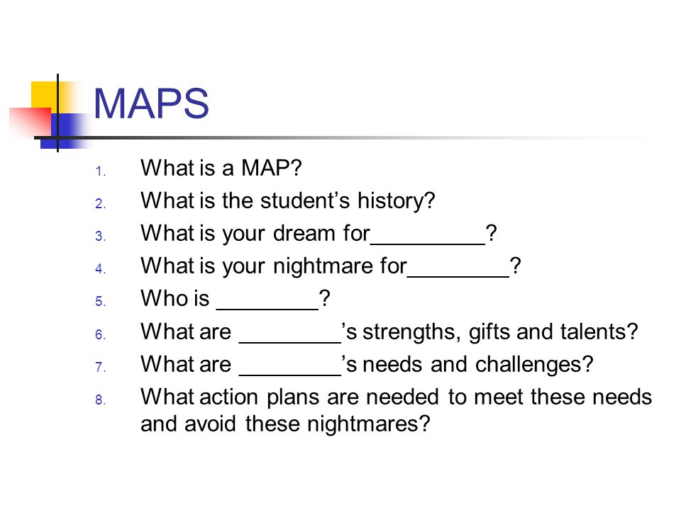 MAPS What is a MAP What is the student's history