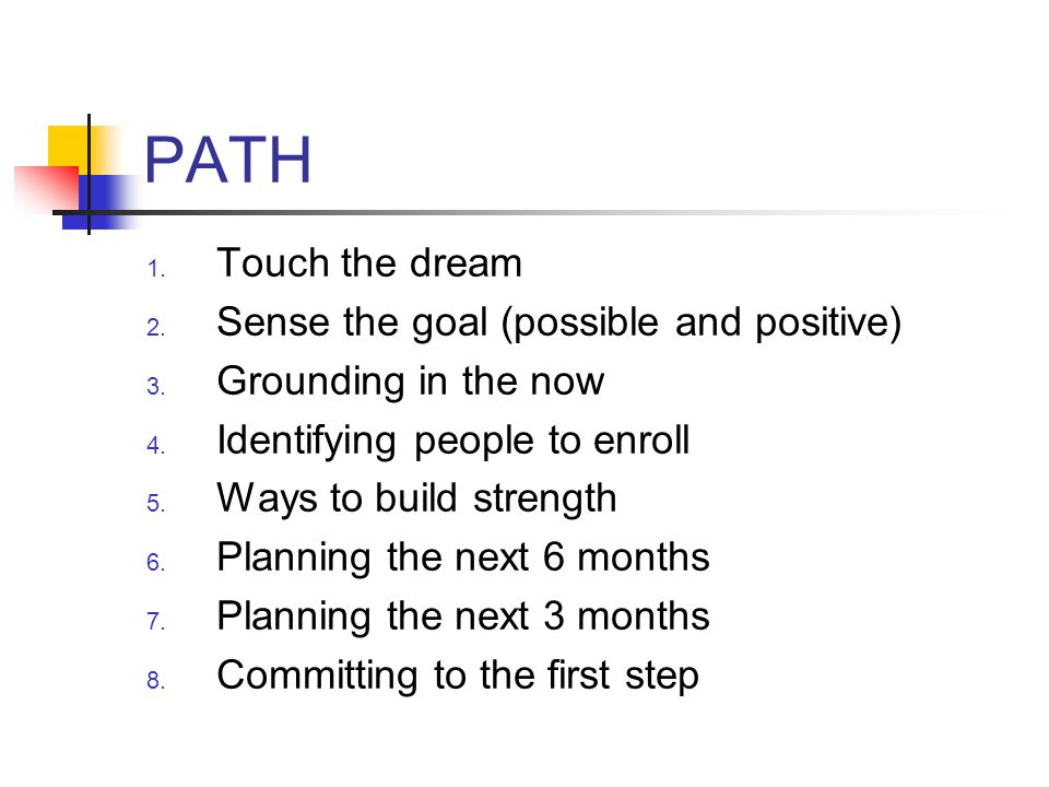 PATH Touch the dream Sense the goal (possible and positive)