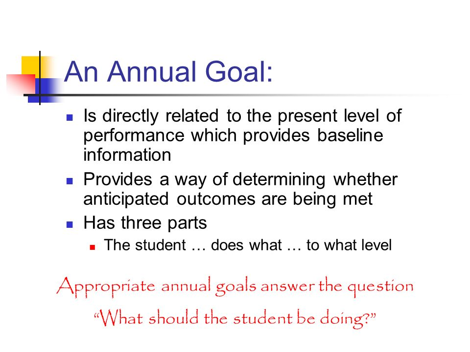 An Annual Goal: Is directly related to the present level of performance which provides baseline information.