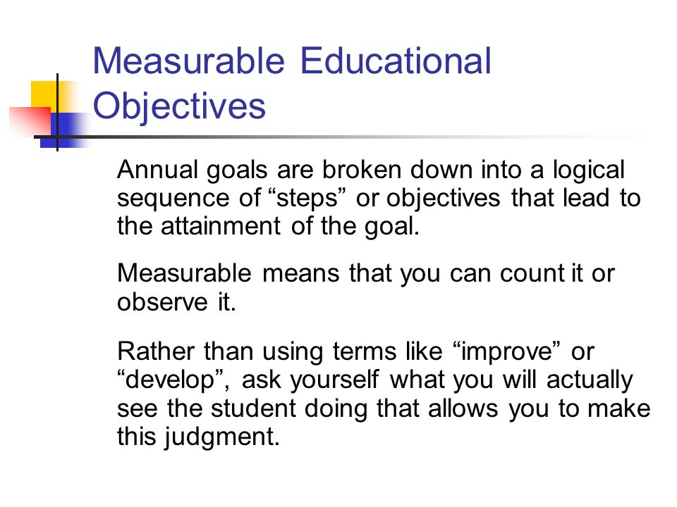 Measurable Educational Objectives