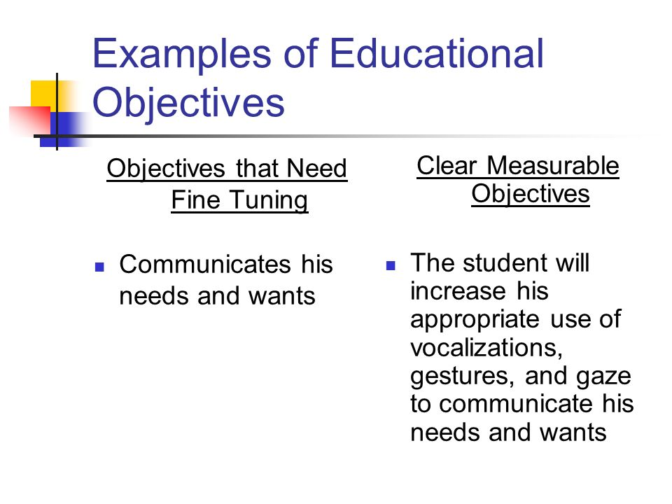 Examples of Educational Objectives