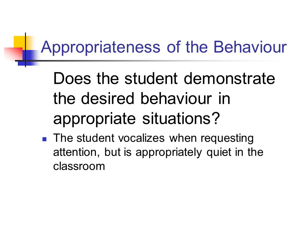 Appropriateness of the Behaviour