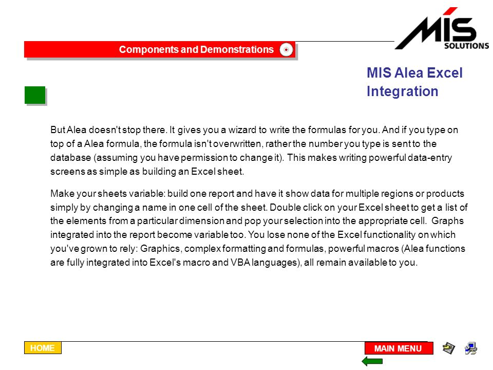 The Alea Browser For Excel Building Reports Ppt Download