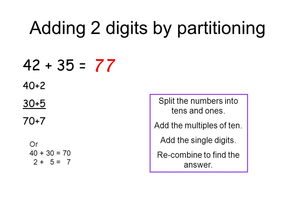 Adding 2 digits by partitioning