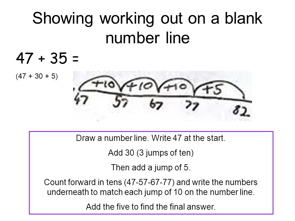 Showing working out on a blank number line