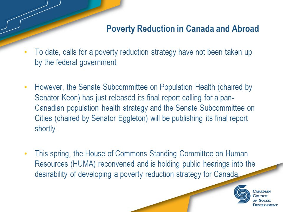 Poverty Reduction in Canada and Abroad