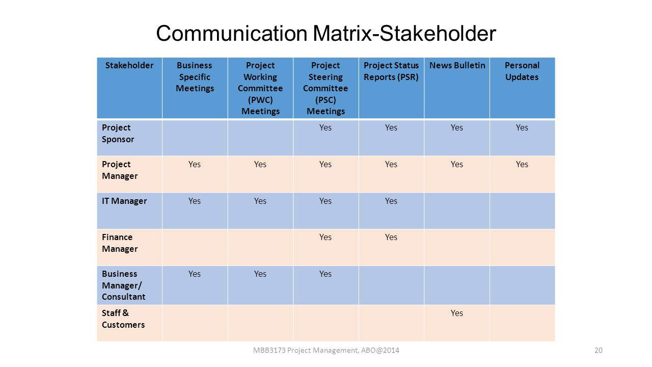20 Communication Matrix Stakeholder
