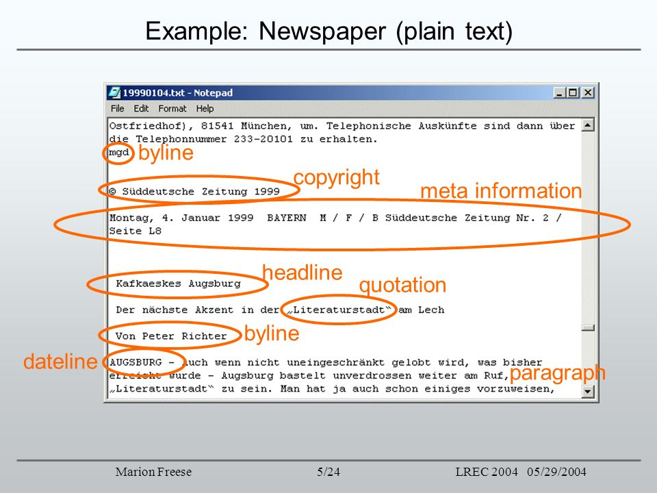 Example: Newspaper (plain text)