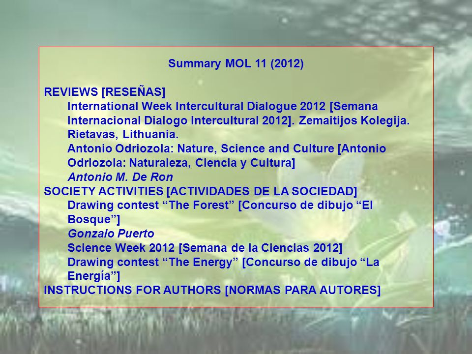 Summary MOL 11 (2012) REVIEWS [RESEÑAS]