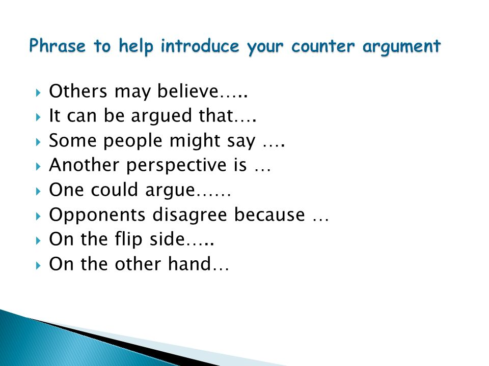 Phrase to help introduce your counter argument