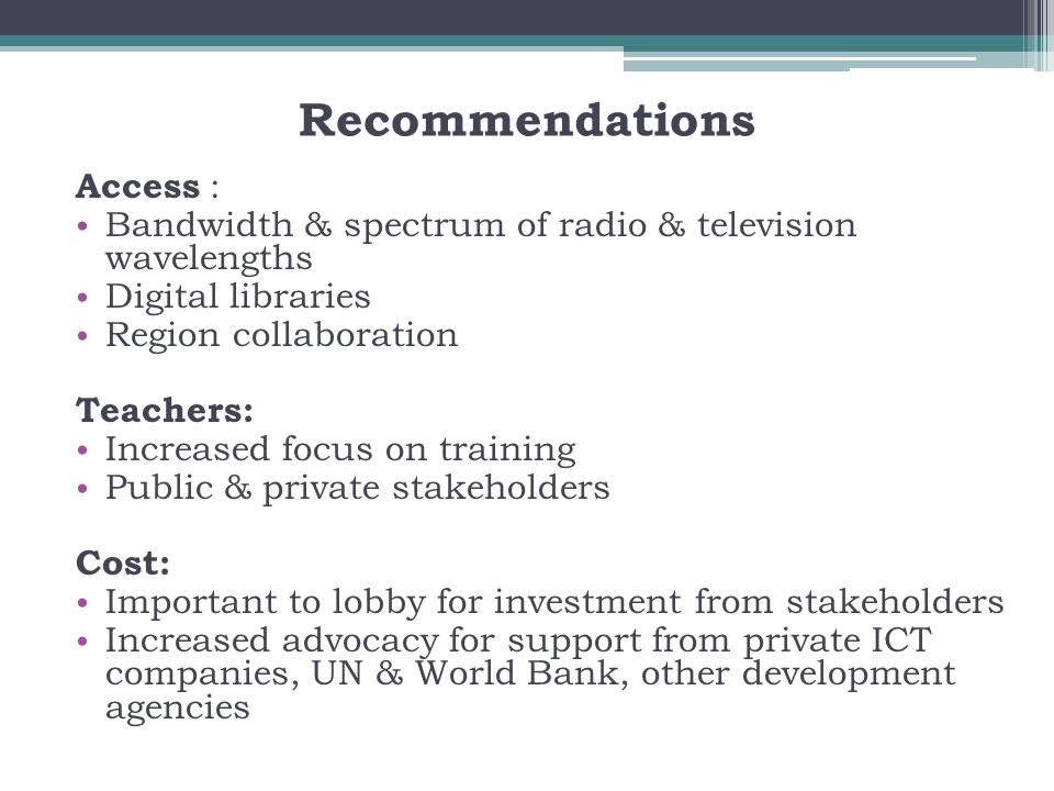 Recommendations Access :