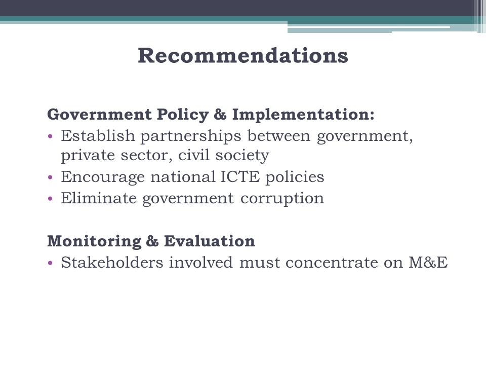 Recommendations Government Policy & Implementation: