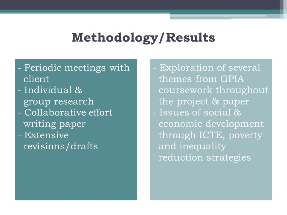 Methodology/Results - Periodic meetings with client - Individual &